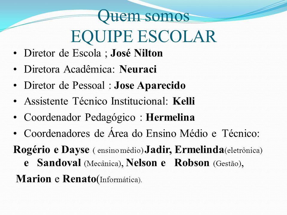 Quem somos EQUIPE ESCOLAR Diretor de Escola ; José Nilton
