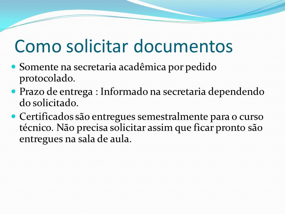 Como solicitar documentos