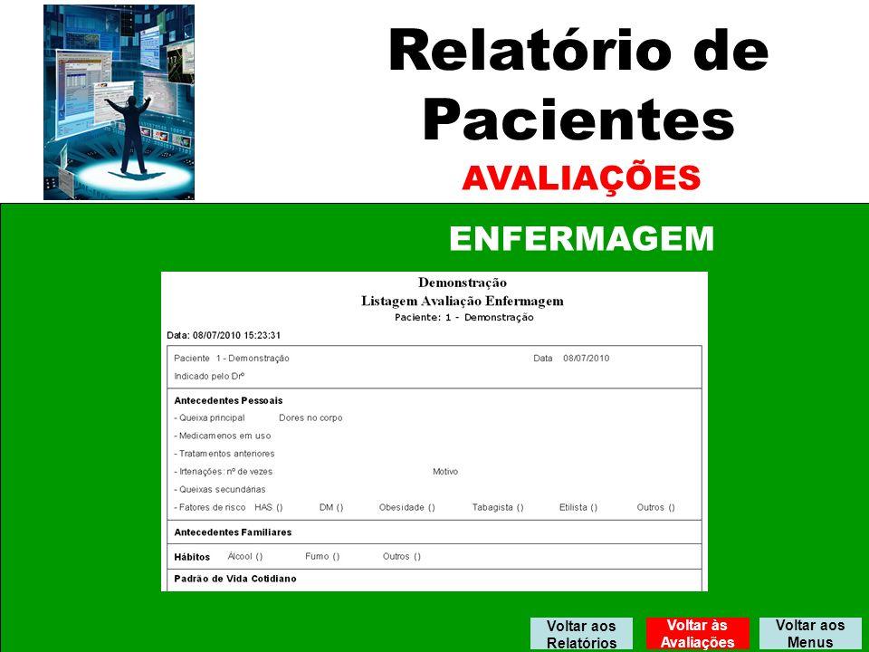 Relatório de Pacientes AVALIAÇÕES ENFERMAGEM Voltar aos Relatórios
