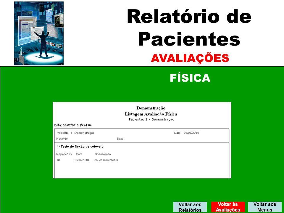 Relatório de Pacientes AVALIAÇÕES FÍSICA Voltar aos Relatórios