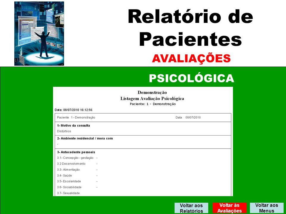 Relatório de Pacientes AVALIAÇÕES PSICOLÓGICA Voltar aos Relatórios