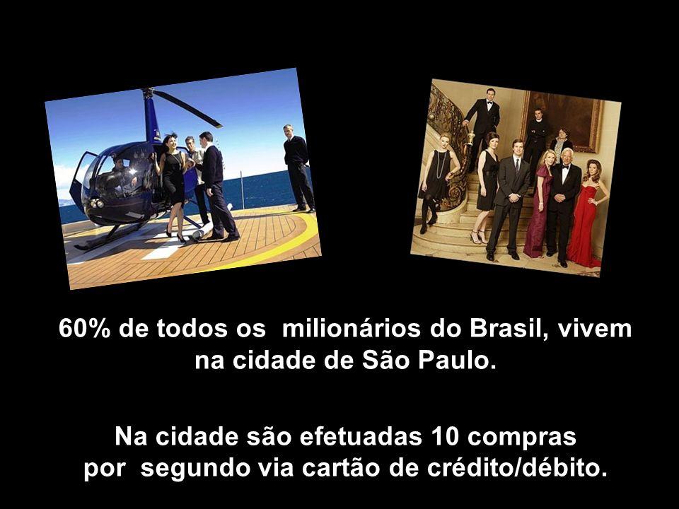 60% de todos os milionários do Brasil, vivem na cidade de São Paulo.