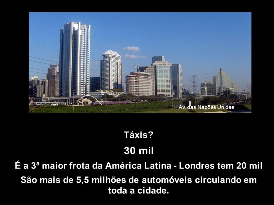 Av. das Nações Unidas Táxis 30 mil. É a 3ª maior frota da América Latina - Londres tem 20 mil.