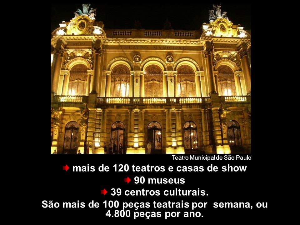 São Paulo tem... mais de 120 teatros e casas de show 90 museus