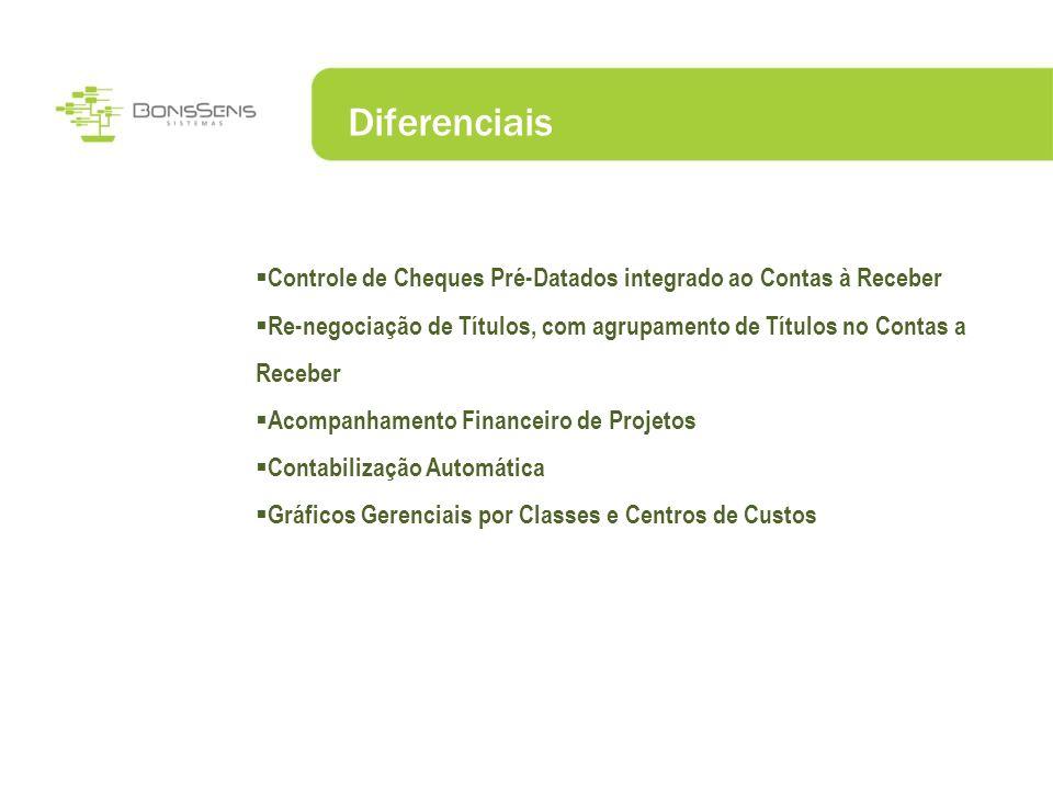 Diferenciais Controle de Cheques Pré-Datados integrado ao Contas à Receber. Re-negociação de Títulos, com agrupamento de Títulos no Contas a Receber.