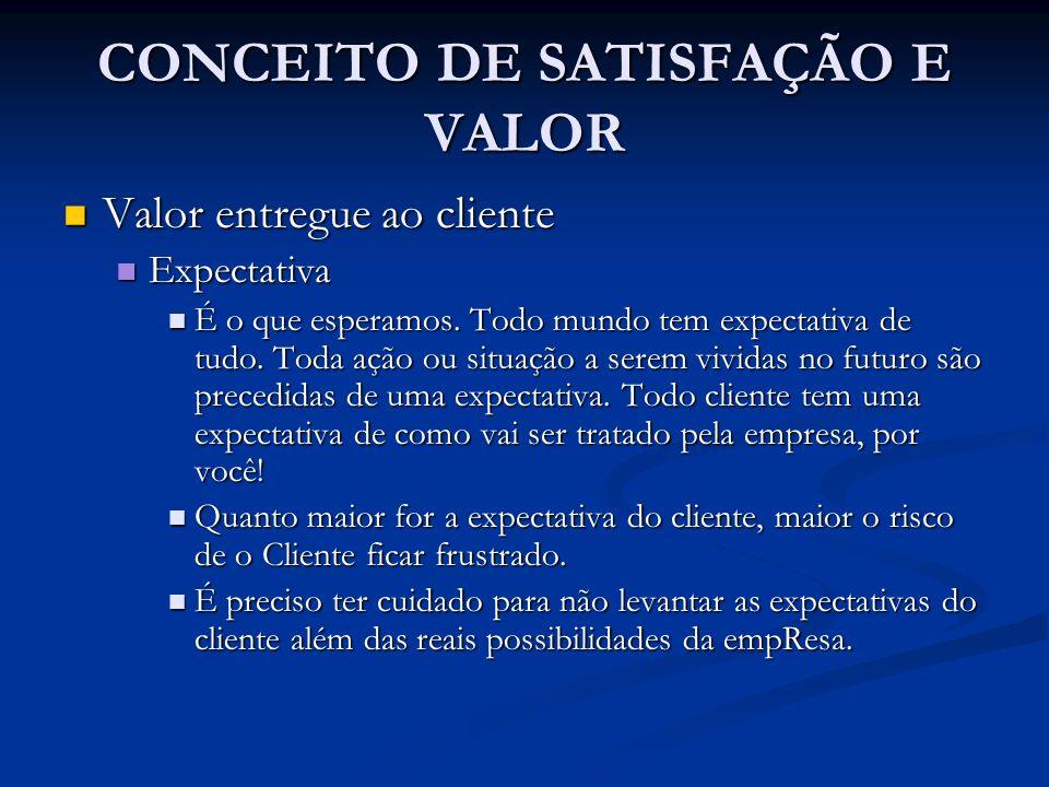 CONCEITO DE SATISFAÇÃO E VALOR