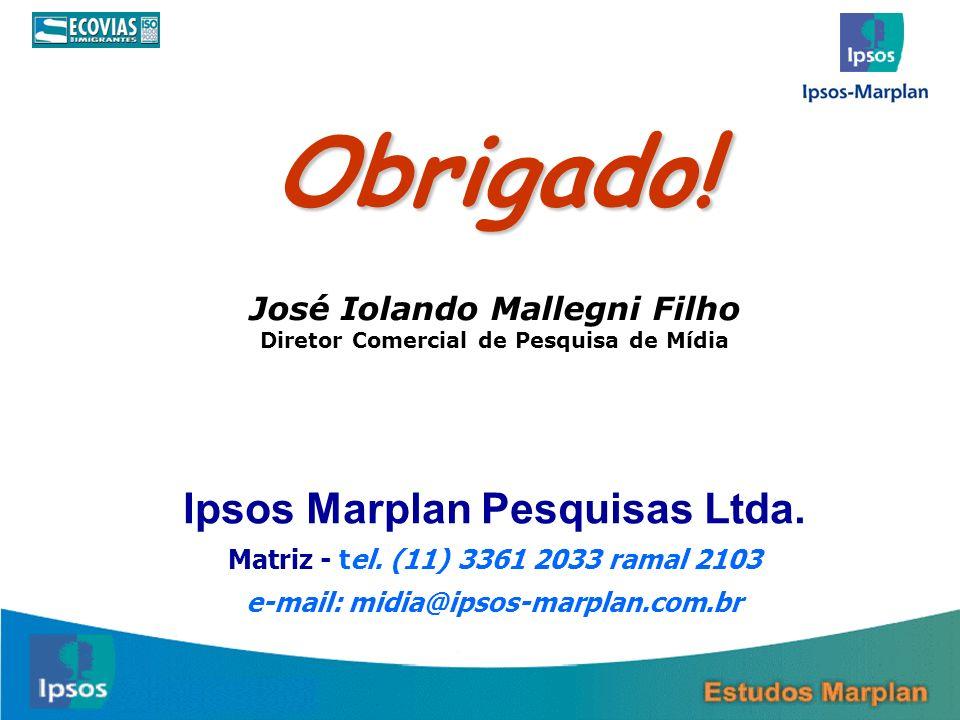 Obrigado! Ipsos Marplan Pesquisas Ltda. José Iolando Mallegni Filho