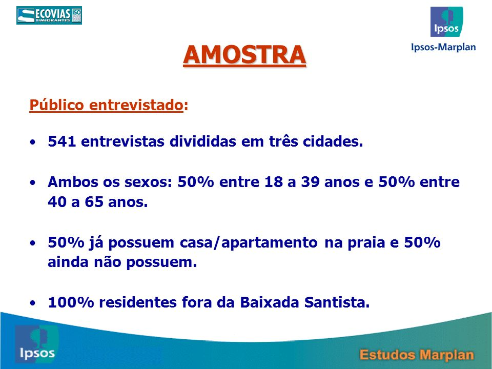 AMOSTRA Público entrevistado: