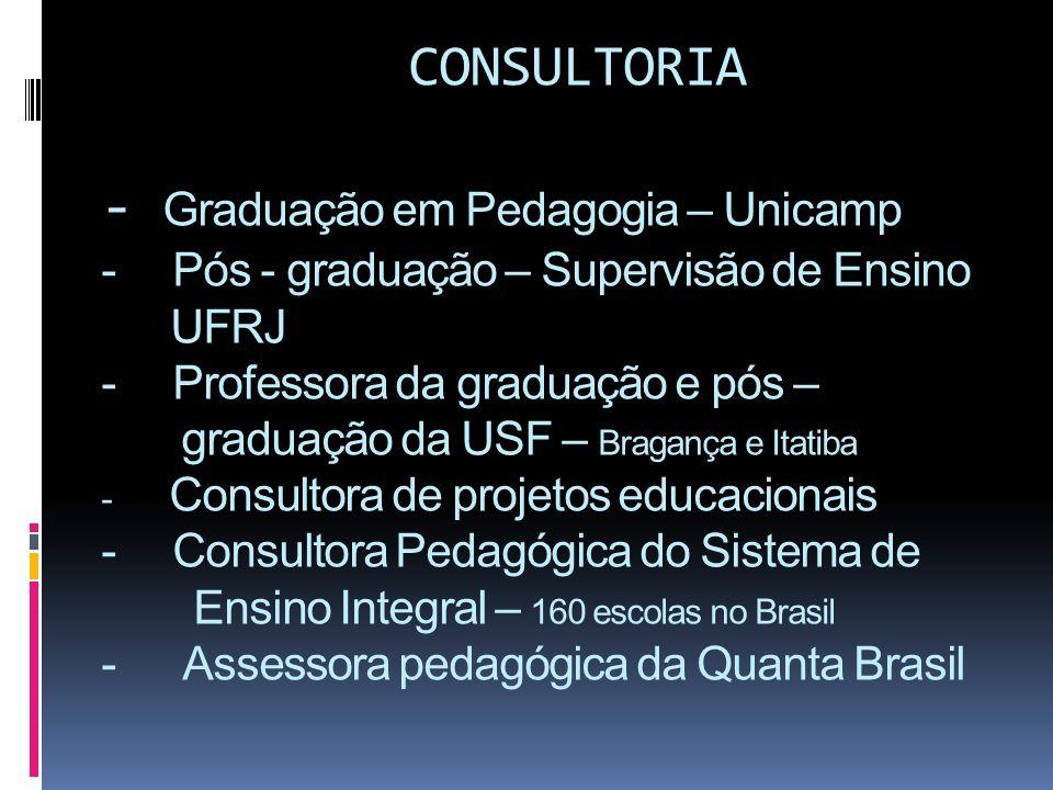 CONSULTORIA - Graduação em Pedagogia – Unicamp - Pós - graduação – Supervisão de Ensino UFRJ - Professora da graduação e pós – graduação da USF – Bragança e Itatiba - Consultora de projetos educacionais - Consultora Pedagógica do Sistema de Ensino Integral – 160 escolas no Brasil - Assessora pedagógica da Quanta Brasil