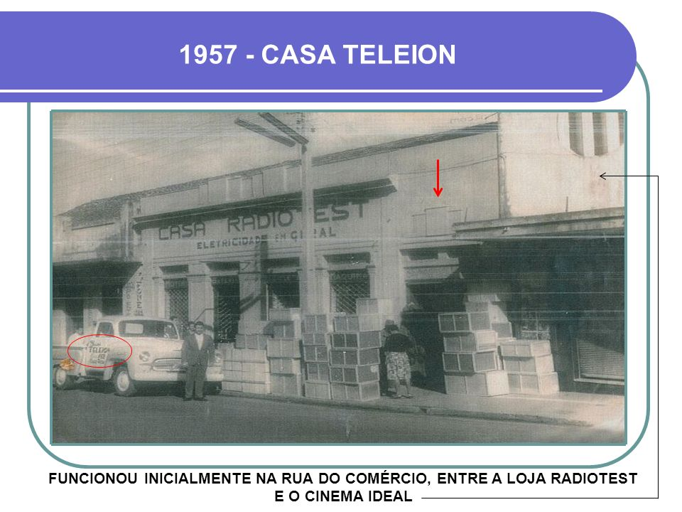 1957 - CASA TELEION FUNCIONOU INICIALMENTE NA RUA DO COMÉRCIO, ENTRE A LOJA RADIOTEST E O CINEMA IDEAL.