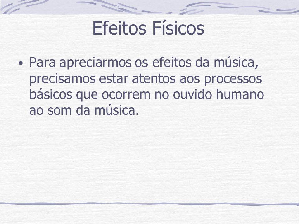Efeitos Físicos Para apreciarmos os efeitos da música, precisamos estar atentos aos processos básicos que ocorrem no ouvido humano ao som da música.