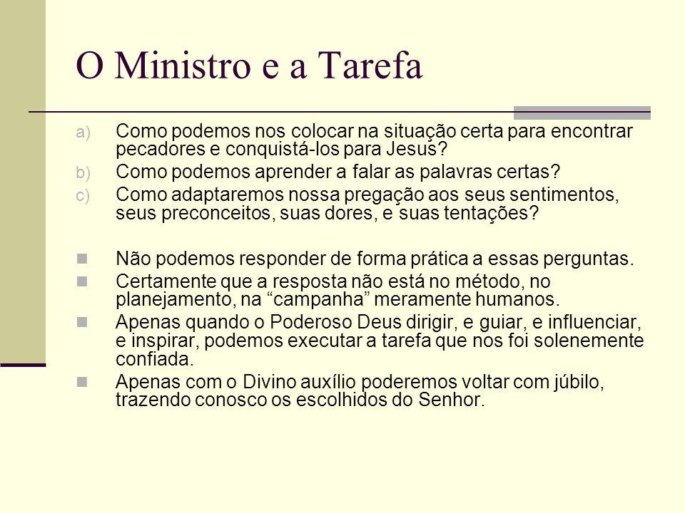 O Ministro e a Tarefa Como podemos nos colocar na situação certa para encontrar pecadores e conquistá-los para Jesus