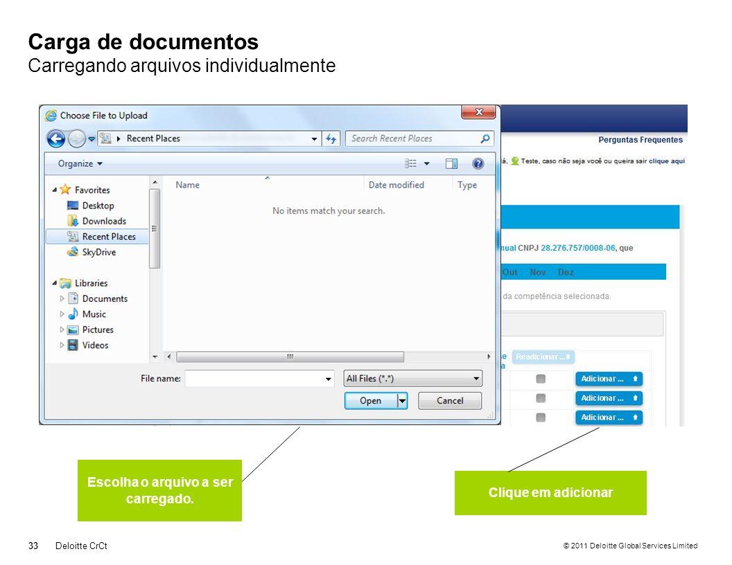 Carga de documentos Carregando arquivos individualmente