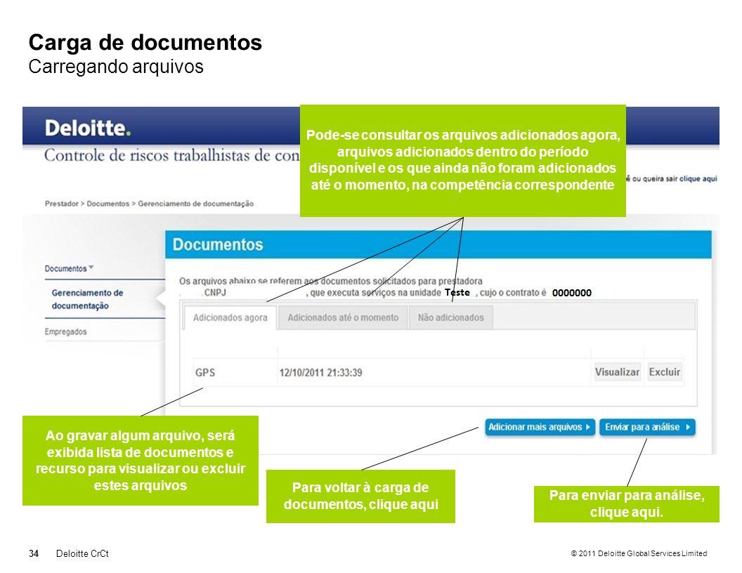 Carga de documentos Carregando arquivos