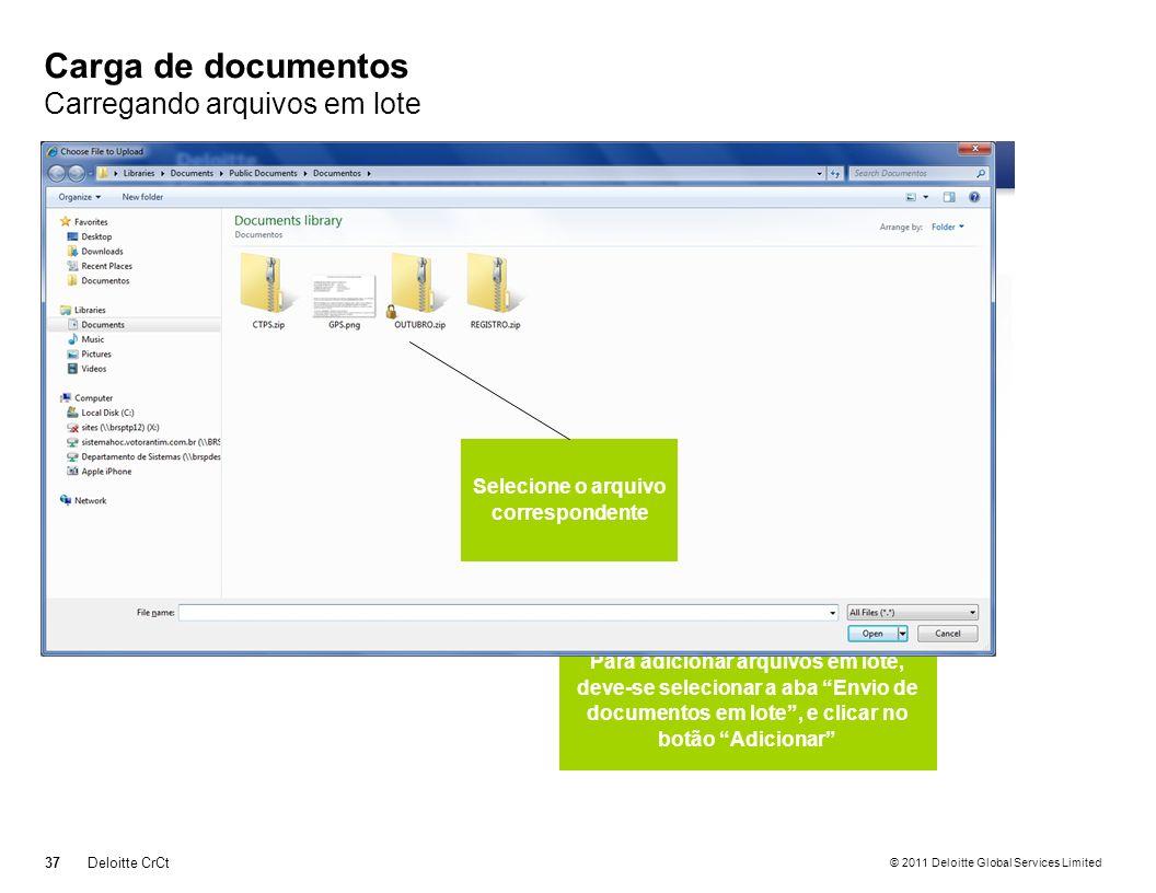 Carga de documentos Carregando arquivos em lote