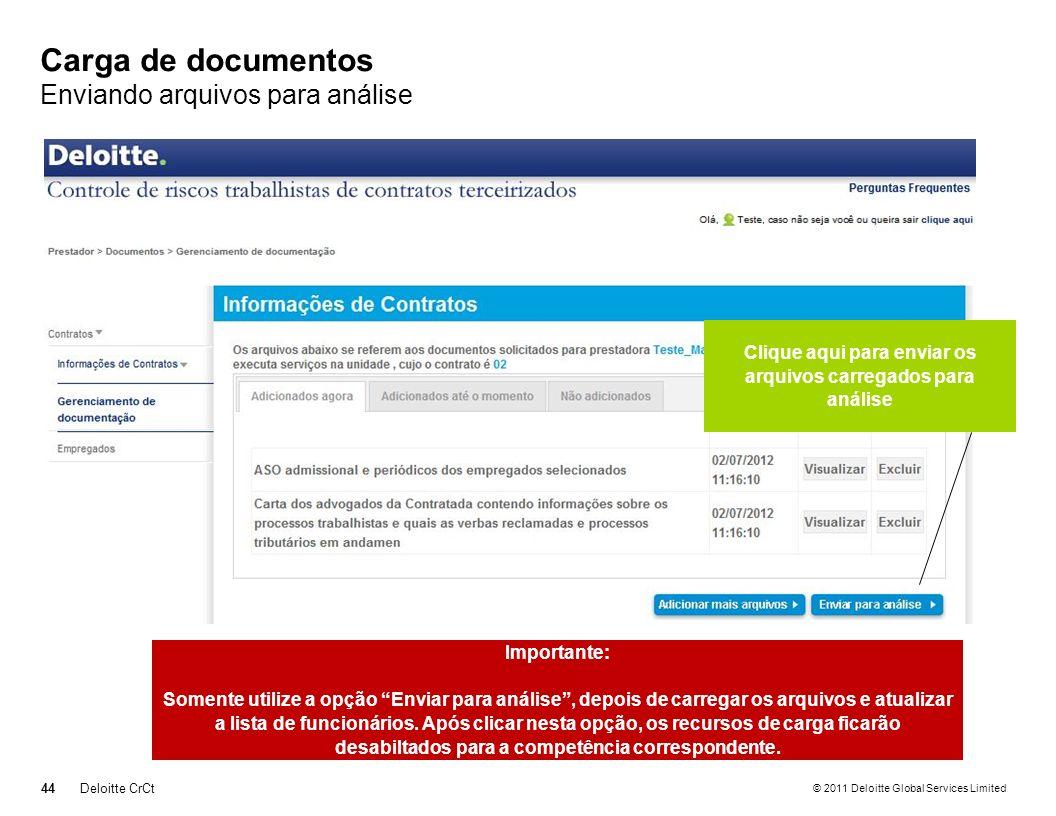 Carga de documentos Enviando arquivos para análise