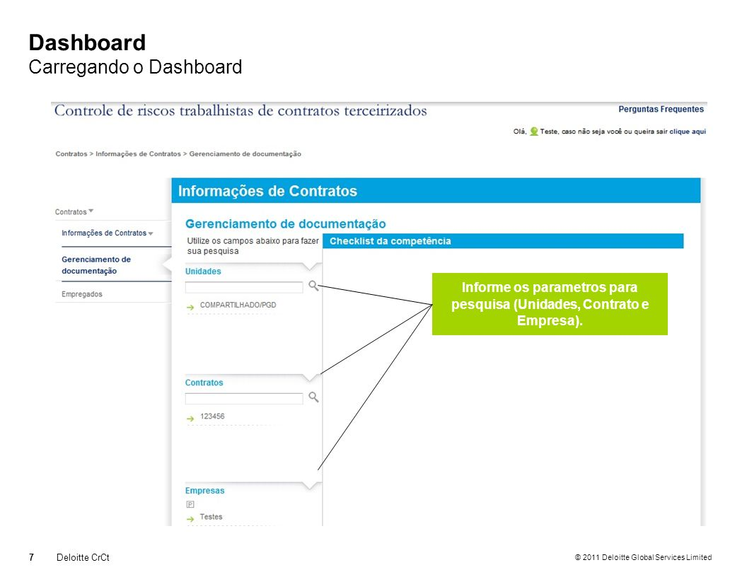 Dashboard Carregando o Dashboard