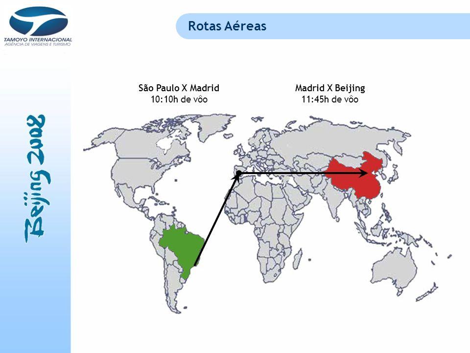 Rotas Aéreas São Paulo X Madrid 10:10h de vôo Madrid X Beijing