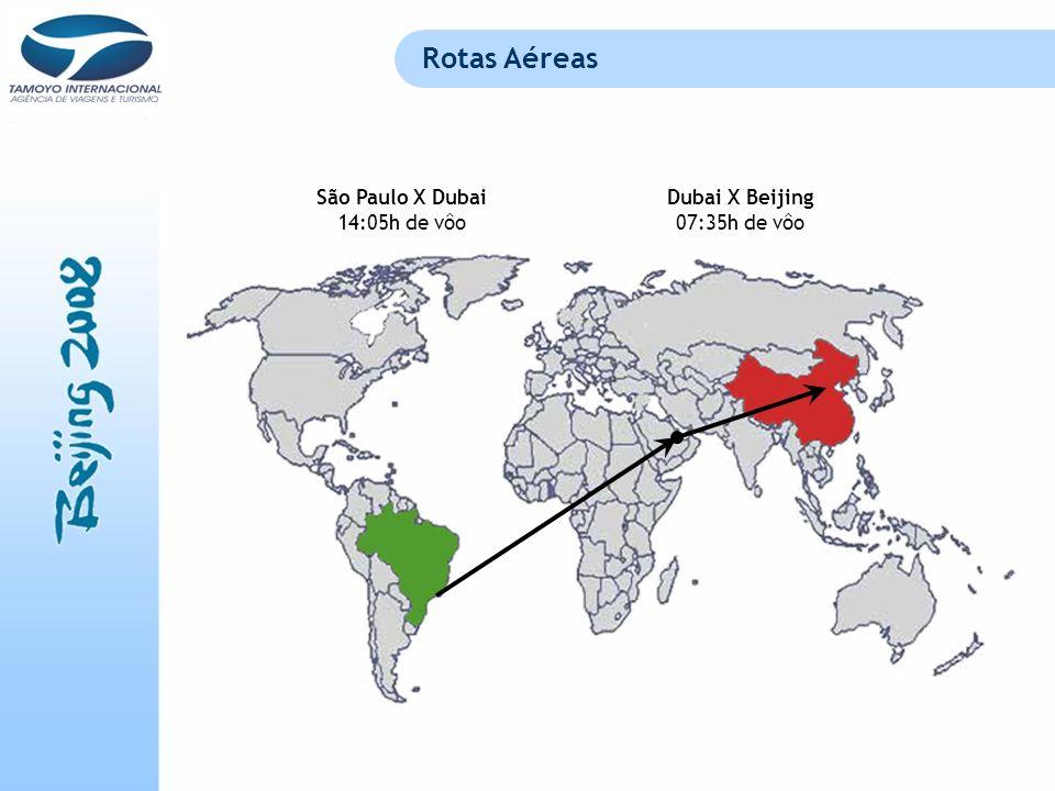 Rotas Aéreas São Paulo X Dubai 14:05h de vôo Dubai X Beijing