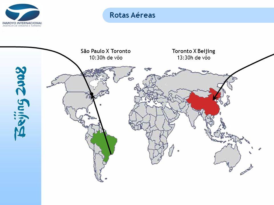 Rotas Aéreas São Paulo X Toronto 10:30h de vôo Toronto X Beijing