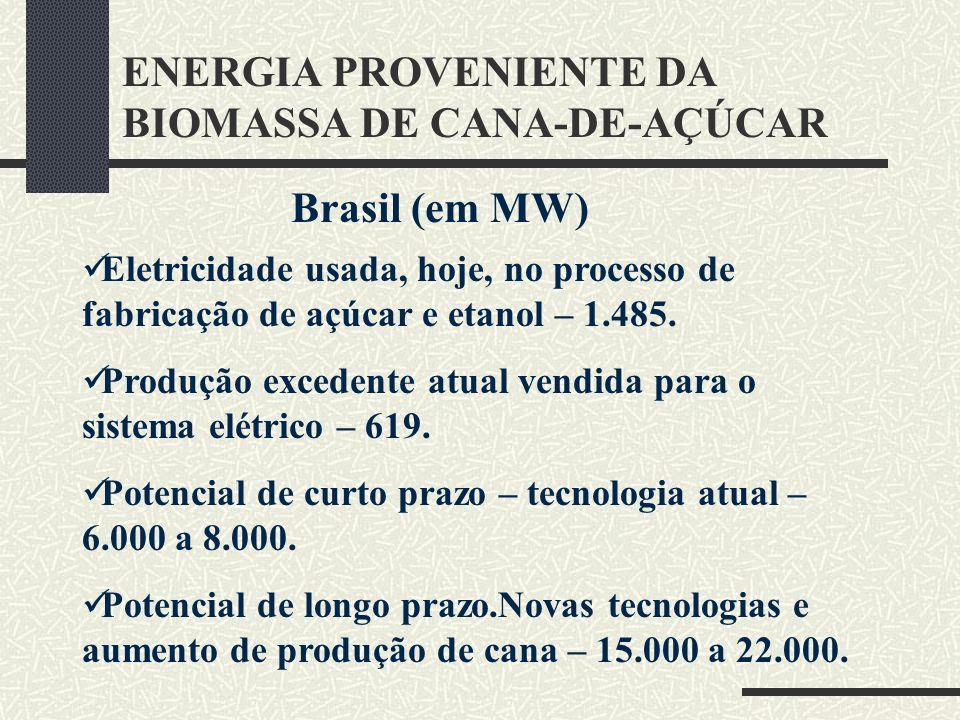 ENERGIA PROVENIENTE DA BIOMASSA DE CANA-DE-AÇÚCAR