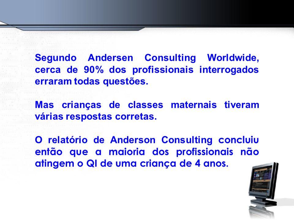 Segundo Andersen Consulting Worldwide, cerca de 90% dos profissionais interrogados erraram todas questões.