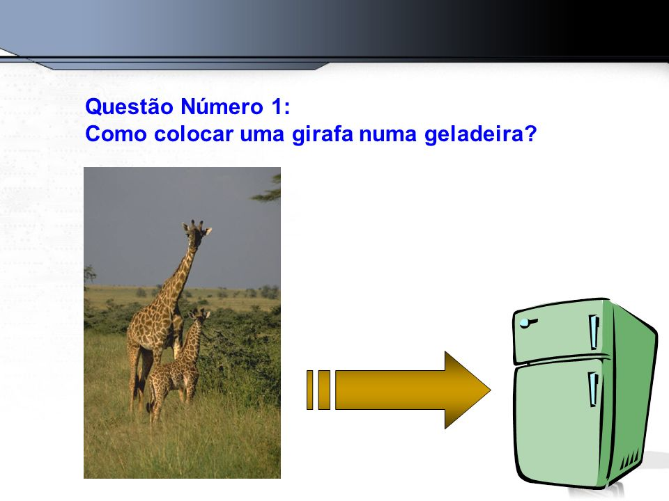 Questão Número 1: Como colocar uma girafa numa geladeira