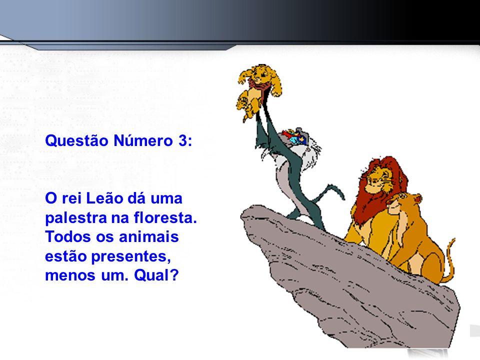 Questão Número 3: O rei Leão dá uma palestra na floresta.