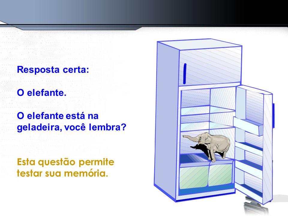 Resposta certa: O elefante. O elefante está na geladeira, você lembra.