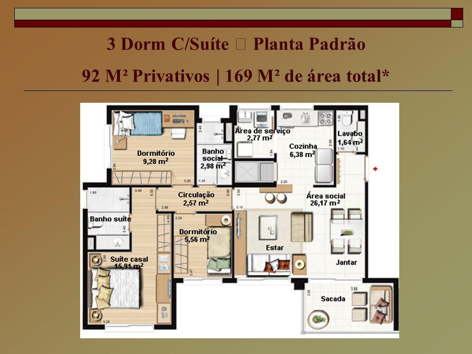 3 Dorm C/Suíte – Planta Padrão 92 M² Privativos | 169 M² de área total*