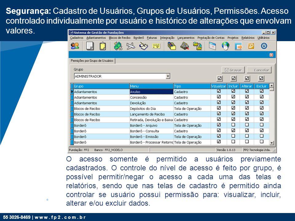 Segurança: Cadastro de Usuários, Grupos de Usuários, Permissões