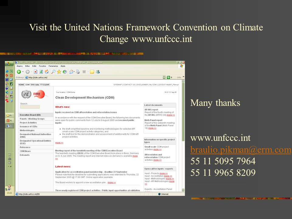 Visit the United Nations Framework Convention on Climate Change www