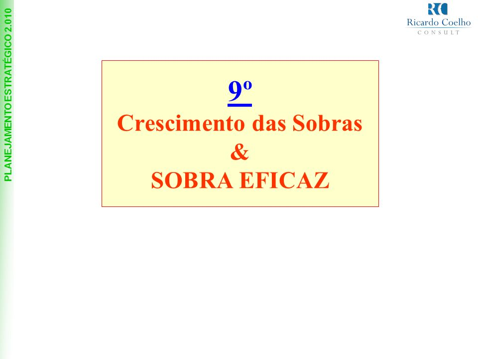 9º Crescimento das Sobras & SOBRA EFICAZ