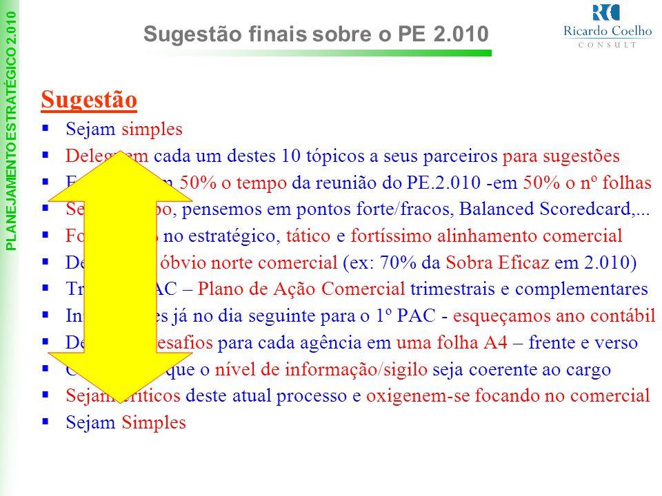 Sugestão Sugestão finais sobre o PE 2.010 Sejam simples