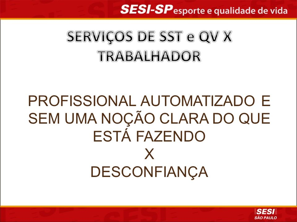SERVIÇOS DE SST e QV X TRABALHADOR