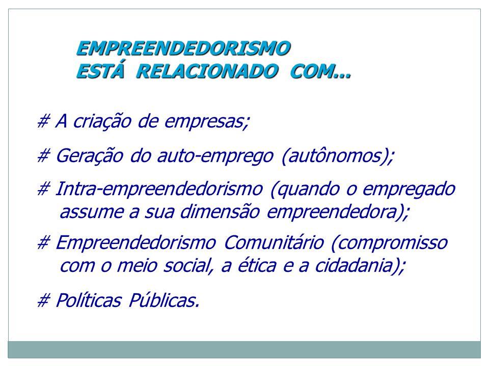 EMPREENDEDORISMO ESTÁ RELACIONADO COM... # A criação de empresas; # Geração do auto-emprego (autônomos);