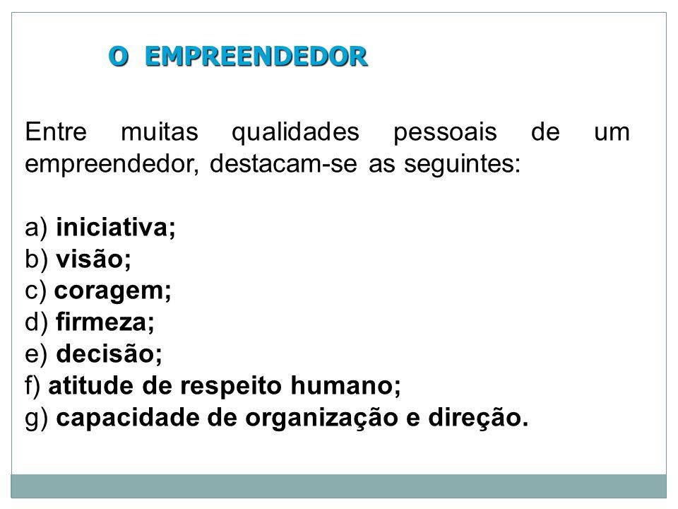 O EMPREENDEDOR Entre muitas qualidades pessoais de um empreendedor, destacam-se as seguintes: a) iniciativa;