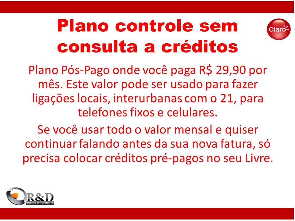 Plano controle sem consulta a créditos
