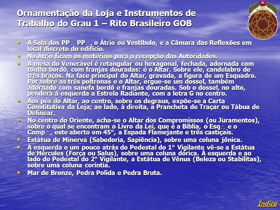 Ornamentação da Loja e Instrumentos de Trabalho do Grau 1 – Rito Brasileiro GOB