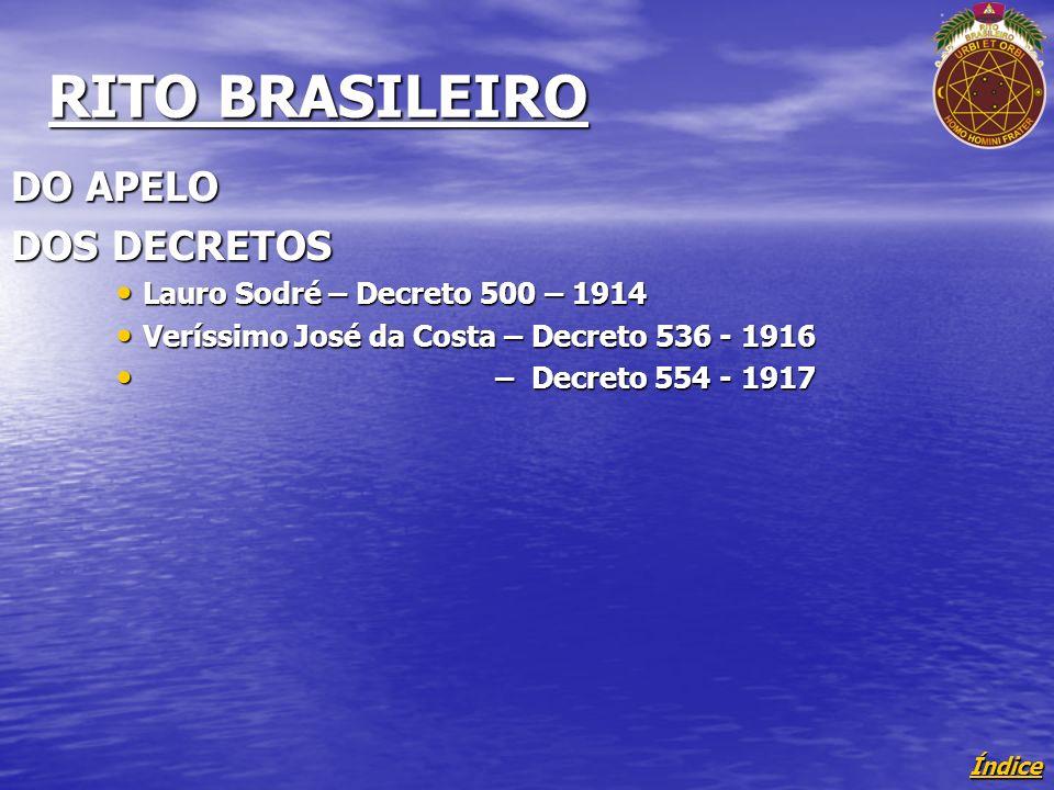 RITO BRASILEIRO DO APELO DOS DECRETOS Lauro Sodré – Decreto 500 – 1914