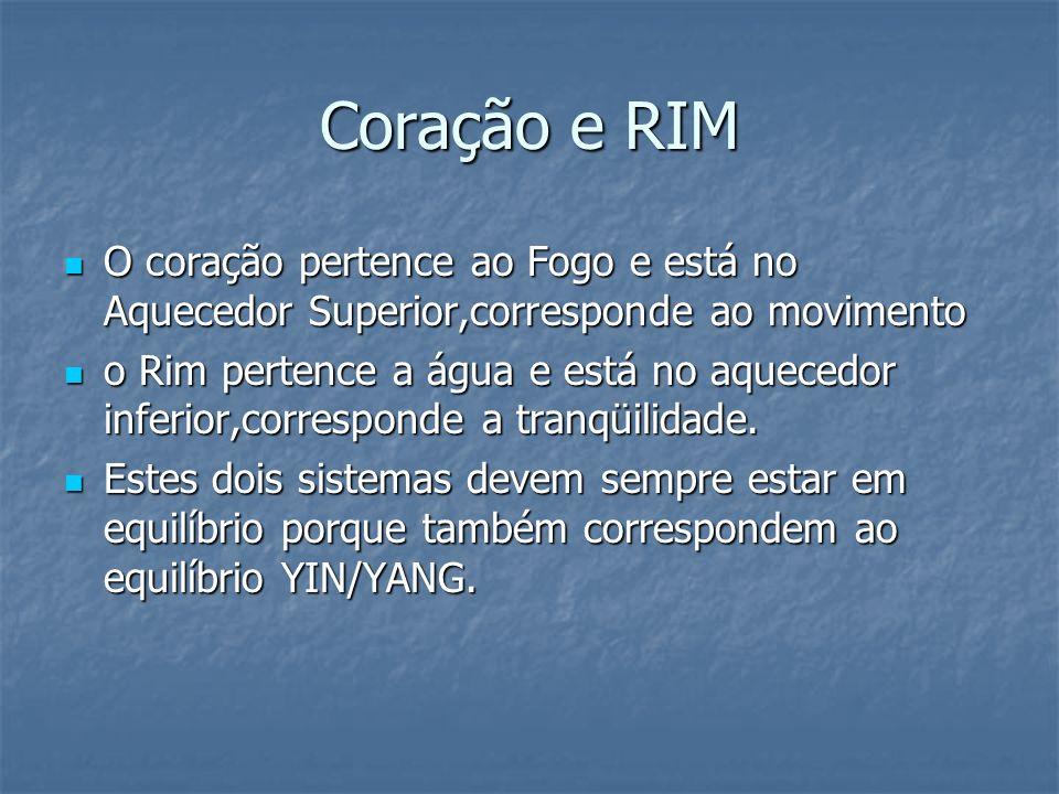 Coração e RIM O coração pertence ao Fogo e está no Aquecedor Superior,corresponde ao movimento.