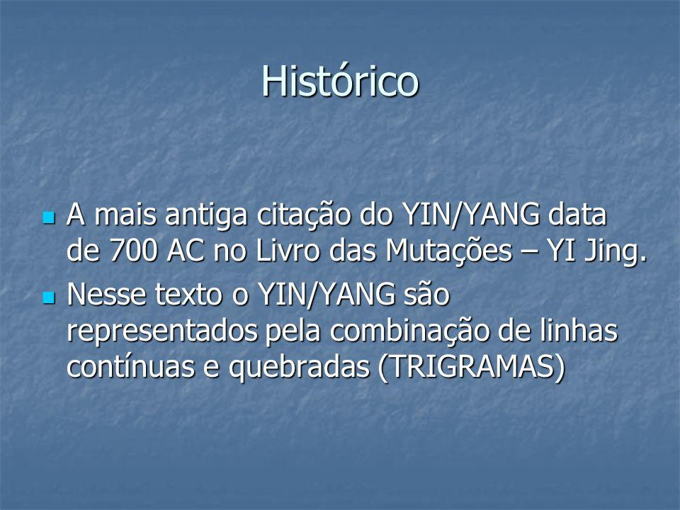 Histórico A mais antiga citação do YIN/YANG data de 700 AC no Livro das Mutações – YI Jing.