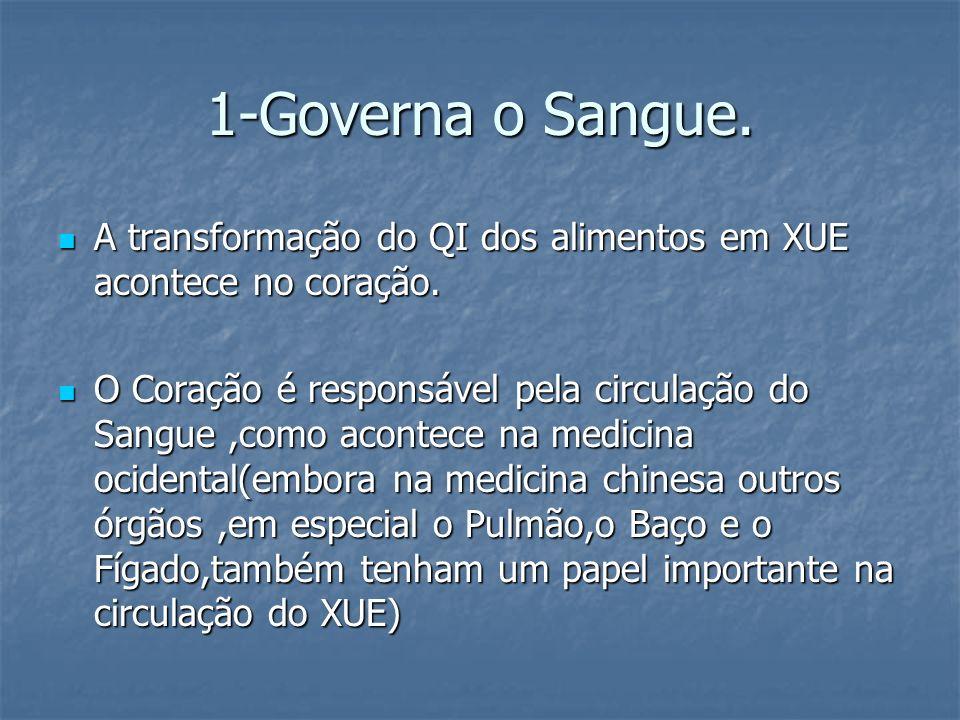 1-Governa o Sangue. A transformação do QI dos alimentos em XUE acontece no coração.
