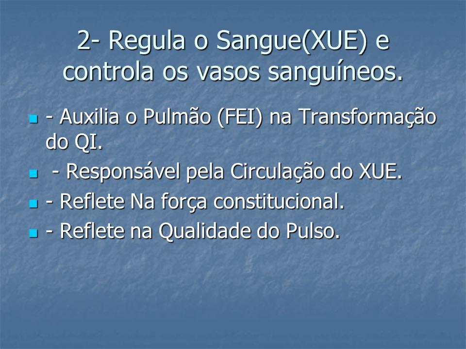 2- Regula o Sangue(XUE) e controla os vasos sanguíneos.
