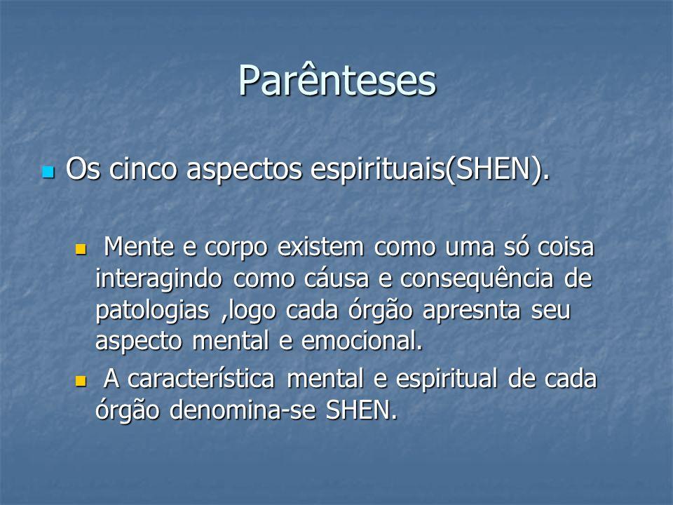 Parênteses Os cinco aspectos espirituais(SHEN).