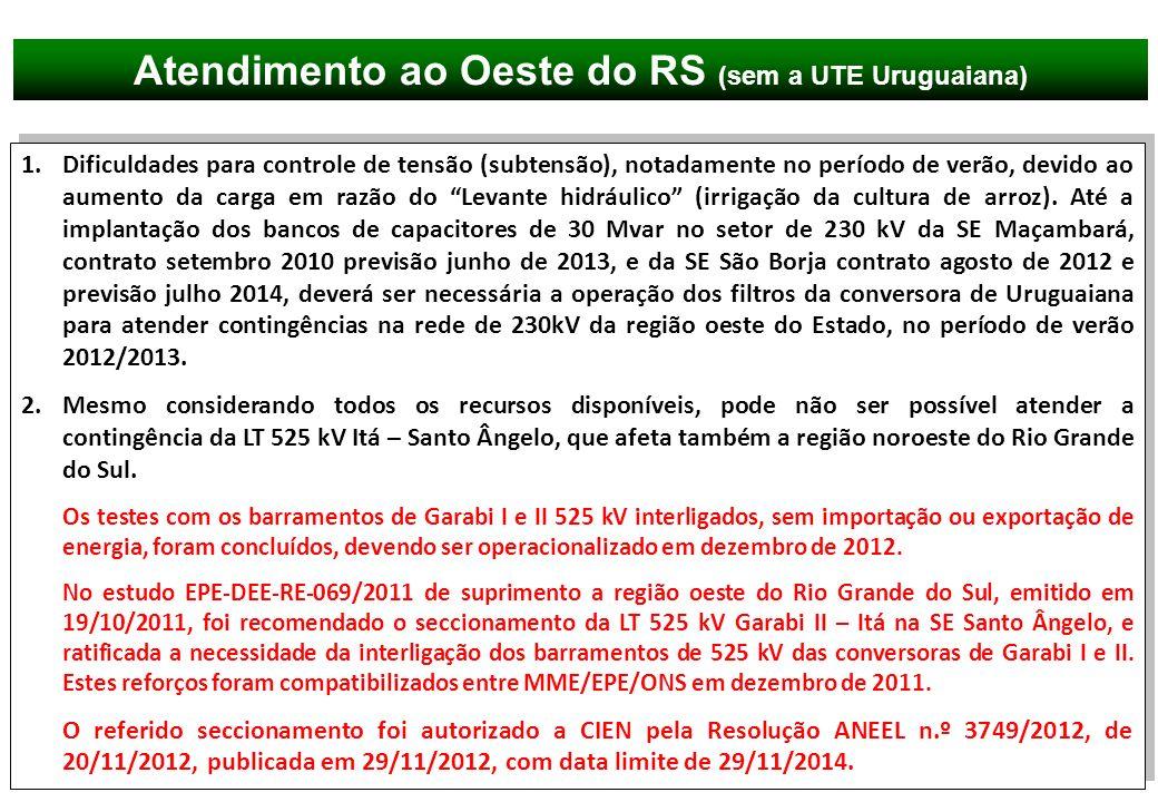 Atendimento ao Oeste do RS (sem a UTE Uruguaiana)
