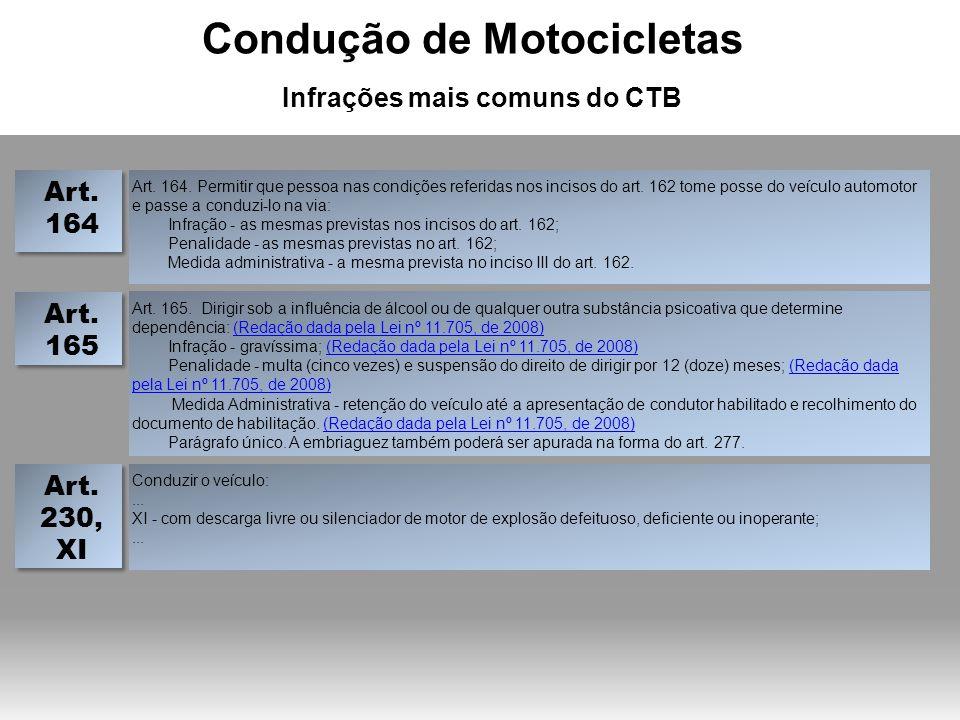 Condução de Motocicletas Infrações mais comuns do CTB
