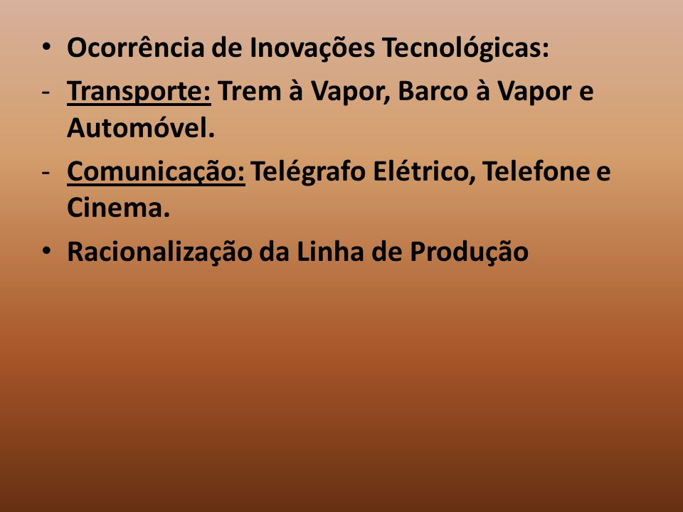 Ocorrência de Inovações Tecnológicas: