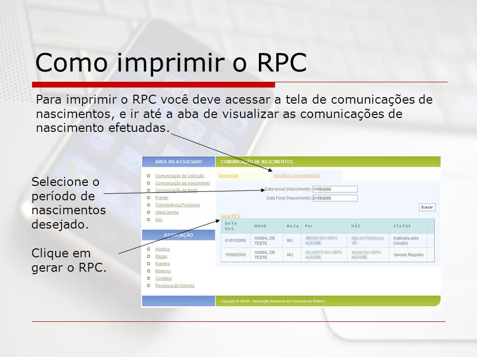 Como imprimir o RPC