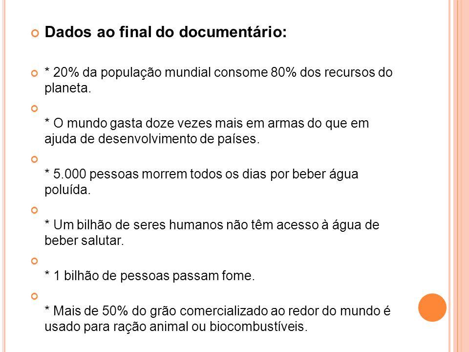 Dados ao final do documentário: